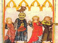 Cantori da un'immagine di capolettera di un codice medioevale