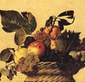 Picture of the Basket of Fruit by Caravaggio, in which we see the rotten fruit, to represent the ephemeral.