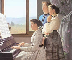 Silvestro Lega, The Folk Song, 1867, oil on canvas, Pitti Palace, Florence