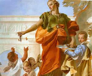 Tiepolo, Generosity Bestowing her Gifts, 1734, fresco, Villa Loschi Zileri dal Verme, Biron, Vicenza